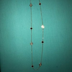 Rose gold black clover Van Cleef style necklace